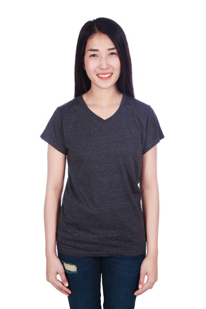 woman in black t-shirt isolated on a white background Stock Photo - 93156345