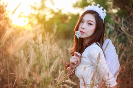 beautiful angel woman in a grass field with sunlight 스톡 콘텐츠