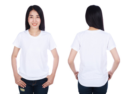 woman in white t-shirt isolated on a white background