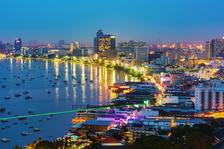 Pattaya city and the many boats docking, Thailand Banco de Imagens