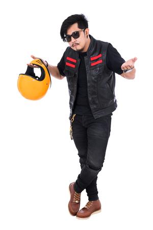 portrait biker man in black leather jacket holding helmet isolated on white background