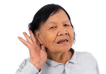 senior woman hearing isolated on a white background