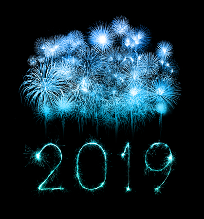 2019 happy new year written with Sparkle firework