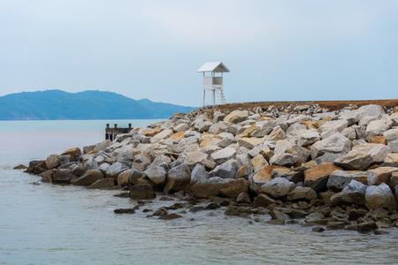 old wooden hut with sea at Khao Laem Ya in Mu Ko Samet National Park, Rayong Province, Thailand 스톡 콘텐츠