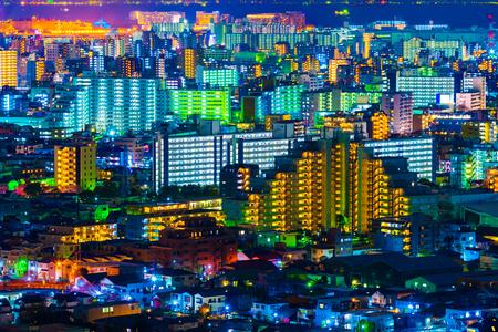 Widok na miasto Tokio w nocy, Japonia Zdjęcie Seryjne