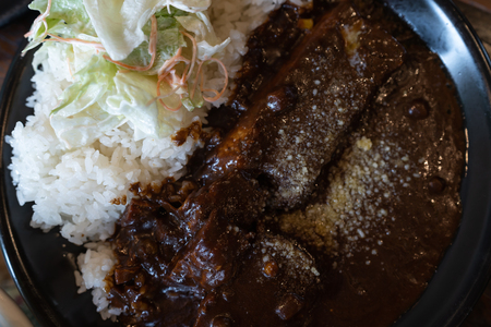 Braised pork cutlet with curry rice on dish