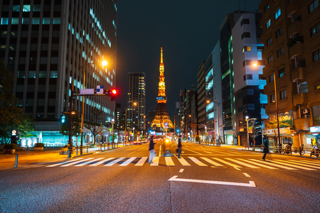 city life and traffic in Tokyo at night, Japan