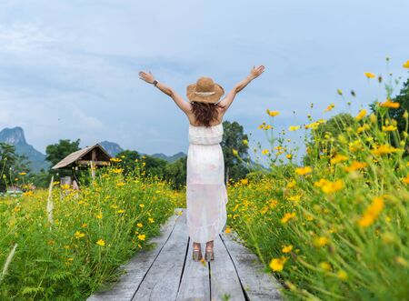 happy woman with arm raised on wooden bridge with yellow cosmos flower field Banque d'images