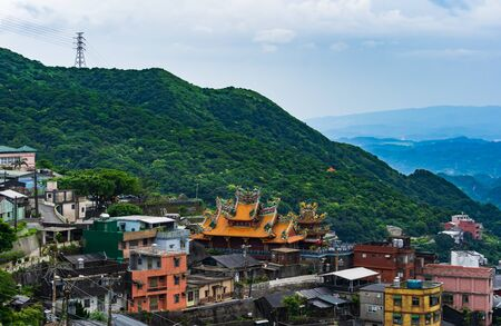 view of Jiufen village with mountain, Taiwan
