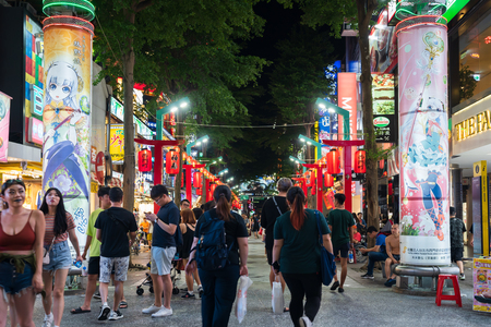Taipei, Taiwan- 8 June, 2019: Crowd of people walking and shopping at Ximending street market at night in Taipei, Taiwan. Ximending is the famous fashion, night Market and street food in Taipei.