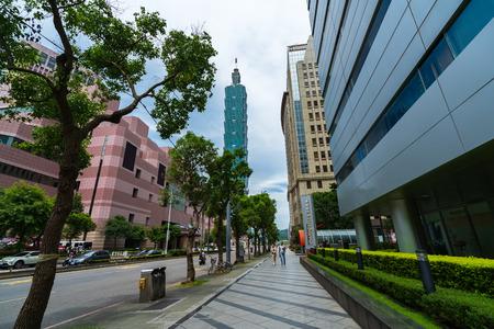 Taipei, Taiwan- 9 June, 2019: urban life and traffic on road with Taipei 101 tower in Taipei, Taiwan