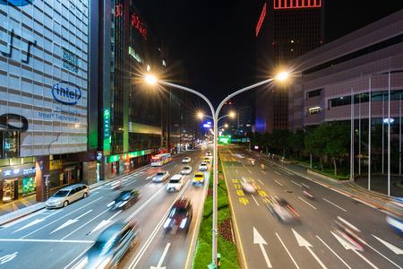 Taipei, Taiwan- 9 June, 2019: traffic on Road at night in Taipei, Taiwan.