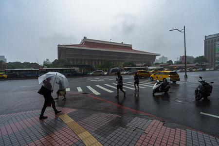 Taipei, Taiwan- 11 June, 2019: Taipei Main Station with falling rain in Taipei, Taiwan