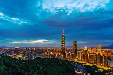 city night view of Taipei, Taiwan Editorial