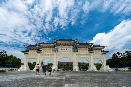 Taipei, Taiwan- 8 June, 2019: Liberty Square main gate of Chiang Kai-Shek Memorial Hall in Taipei, Taiwan. the famous landmark with popular travel of tourists visiting Taiwan.
