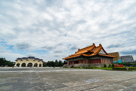 Taipei, Taiwan- 8 June, 2019: National Concert Hall and Liberty Square main gate of Chiang Kai-Shek Memorial Hall in Taipei, Taiwan. the famous landmark with popular travel of tourists visiting Taiwan.