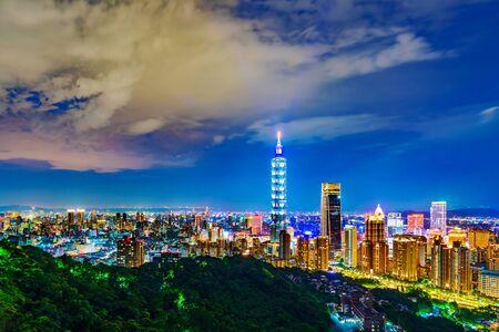 city night view of Taipei, Taiwan Banco de Imagens