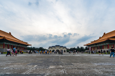 Taipei, Taiwan- 8 June, 2019: Unidentified people visited Liberty Square of Chiang Kai-Shek Memorial Hall in Taipei, Taiwan. the famous landmark with popular travel of tourists visiting Taiwan Editorial