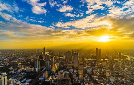 Bangkok city view with Chao Phraya River at sunset, Thailand