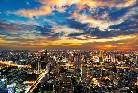 Bangkok city view with Chao Phraya River at sunset, Thailand Stock Photo - 129911648