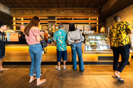 NAKHON RATCHASIMA, THAILAND - 10 AUG 2019 : the Starbucks Reserve customers inside Central Plaza Mall at Nakhon Ratchasima, Thailand