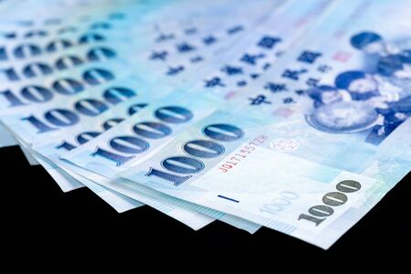 1000 New Taiwan Dollar banknote, Cash isolated on a balck backbround