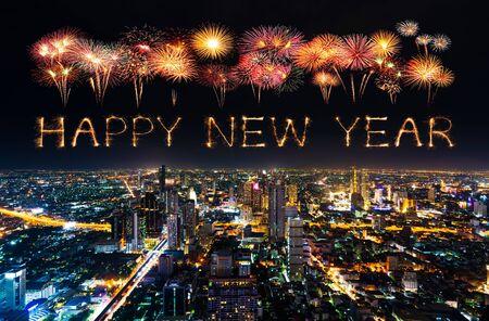 happy new year fireworks celebrating over Bangkok cityscape at night, Thailand