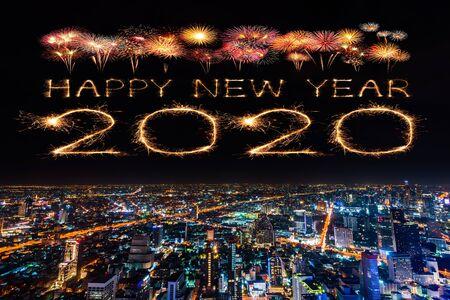 2020 happy new year fireworks celebrating over Bangkok cityscape at night, Thailand Stockfoto
