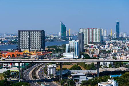Bangkok city view and traffic road, Thailand