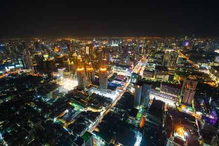 aerial view of Bangkok city downtown and road traffic at night of Thailand , Cityscape Reklamní fotografie
