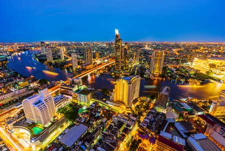 view of Bangkok city with Chao Phraya River at night, Thailand Reklamní fotografie