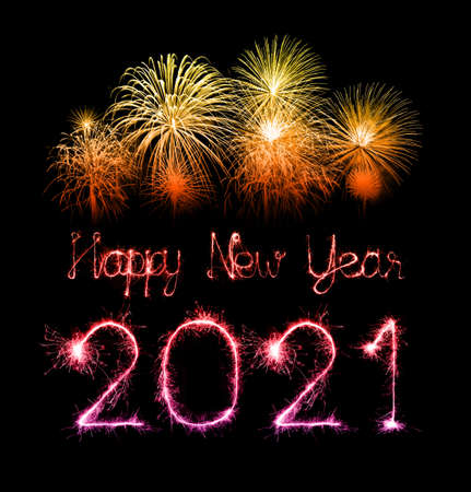 2021 happy new year fireworks written sparkling sparklers at night Imagens