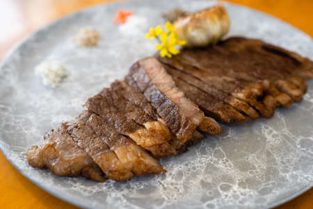 wagyu beef well done steak in a plate Stock fotó