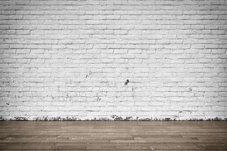 suelos: Ilustración tridimensional del interior con pared de ladrillo y piso de madera Foto de archivo