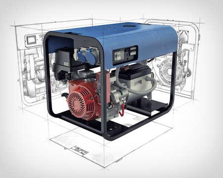 alternateur: Illustration en trois dimensions d'un générateur à essence sertie de dessins techniques et croquis isolé sur un fond blanc
