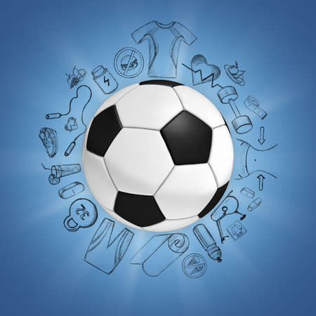 tournament bracket: Illustration of soccer ball on blue background with sport sketches