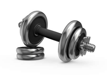 Fitness and sports equipment: metal dumbbell with disks isolated on white background Banco de Imagens