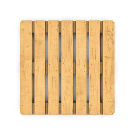 木製パレットの白い背景で隔離の立体イラストレーション 写真素材