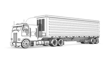 Three-dimensional illustration of black-and-white sketch of truck