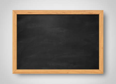 Blank black chalkboard. Background and texture. School board on gray background Banco de Imagens