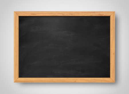 Blank black chalkboard. Background and texture. School board on gray background Archivio Fotografico