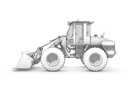 Three-dimensional illustration of black-and-white sketch of excavator illustration