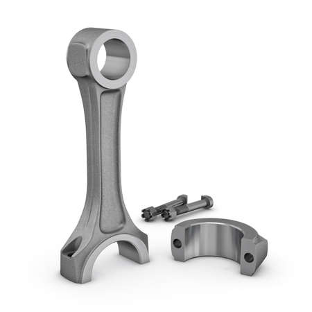 connecting rod: Three-dimensional illustration of connecting rod isolated on a white background Stock Photo