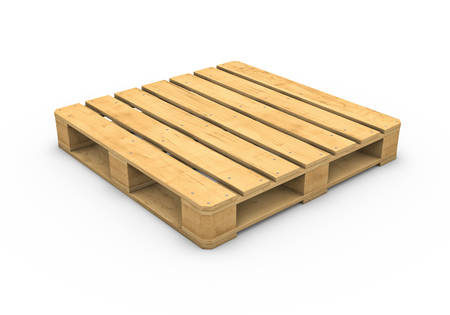 Three-dimensional illustration of wooden pallet isolated on a white background illustration