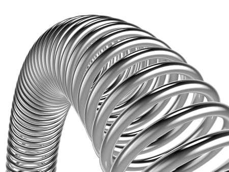 金属スプリングの白い背景で隔離の立体イラストレーション