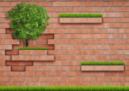 Grown tree with brick wall on green fresh grass. Background photo