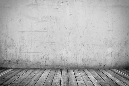 コンクリートの壁と木製の床とインテリアの立体イラストレーション 写真素材