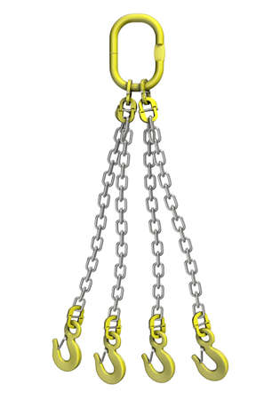 Three-dimensional illustration of cargo strapping. Metal chain with crane hook