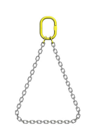 Three-dimensional illustration of cargo strapping. Metal chain Stock Photo