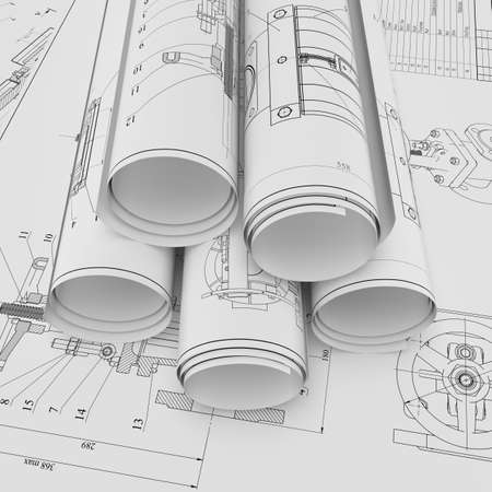 Illustration of roll and flat technical drawing Banco de Imagens